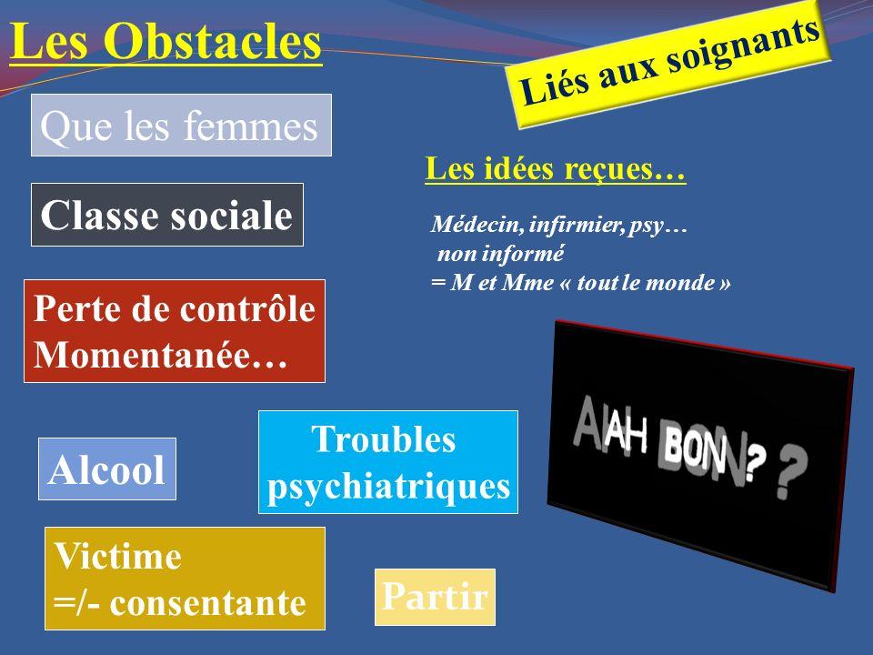 Alcool Troubles psychiatriques Classe sociale Perte de contrôle Momentanée… Victime =/- consentante Que les femmes Partir Les Obstacles Liés aux soign