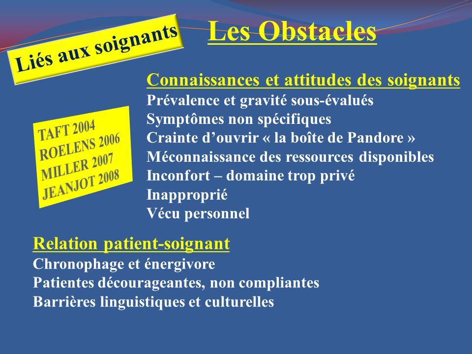 Relation patient-soignant Chronophage et énergivore Patientes décourageantes, non compliantes Barrières linguistiques et culturelles Connaissances et