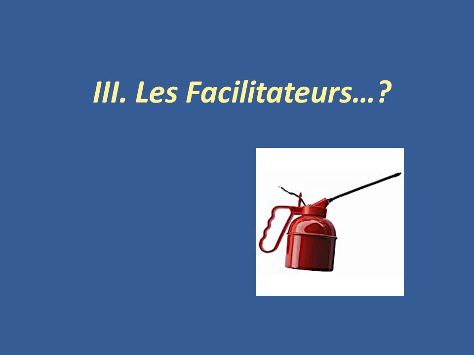 III. Les Facilitateurs…