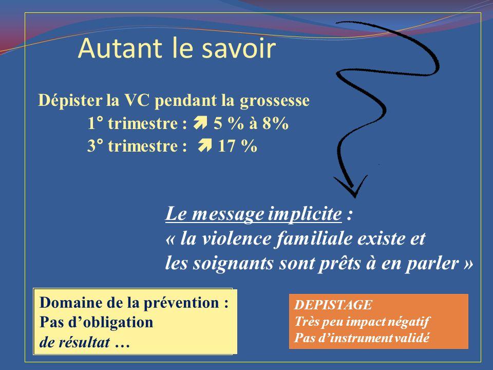 Dépister la VC pendant la grossesse 1° trimestre :  5 % à 8% 3° trimestre :  17 % Autant le savoir Le message implicite : « la violence familiale ex