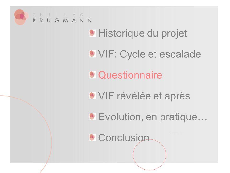 5 janvier 2016 Historique du projet VIF: Cycle et escalade Questionnaire VIF révélée et après Evolution, en pratique… Conclusion