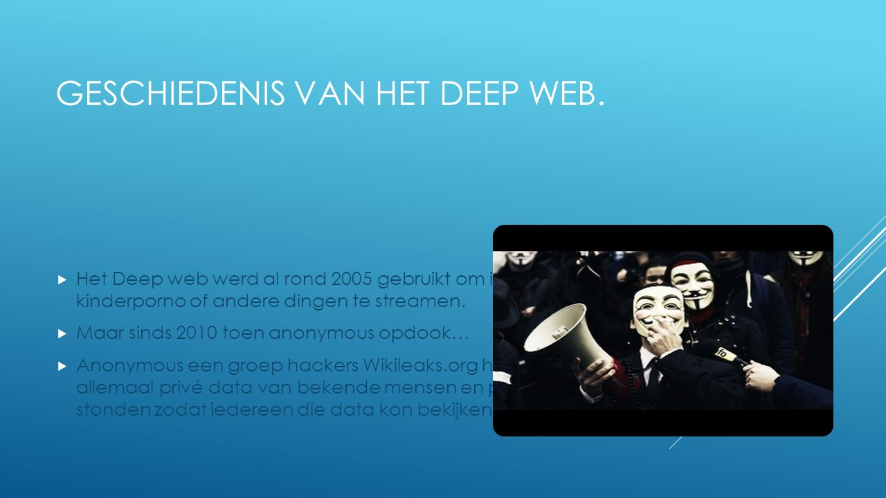 HOE IS HET DEEP WEB ONTSTAAN?  Het Deep web is tegelijkertijd ontstaan samen met het gewone internet (rond 1996), alleen werd het toen nog niet gebru