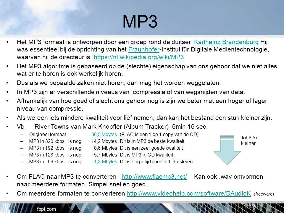 MP3 Het MP3 formaat is ontworpen door een groep rond de duitser Karlheinz Brandenburg Hij was essentieel bij de oprichting van het Fraunhofer-Institut