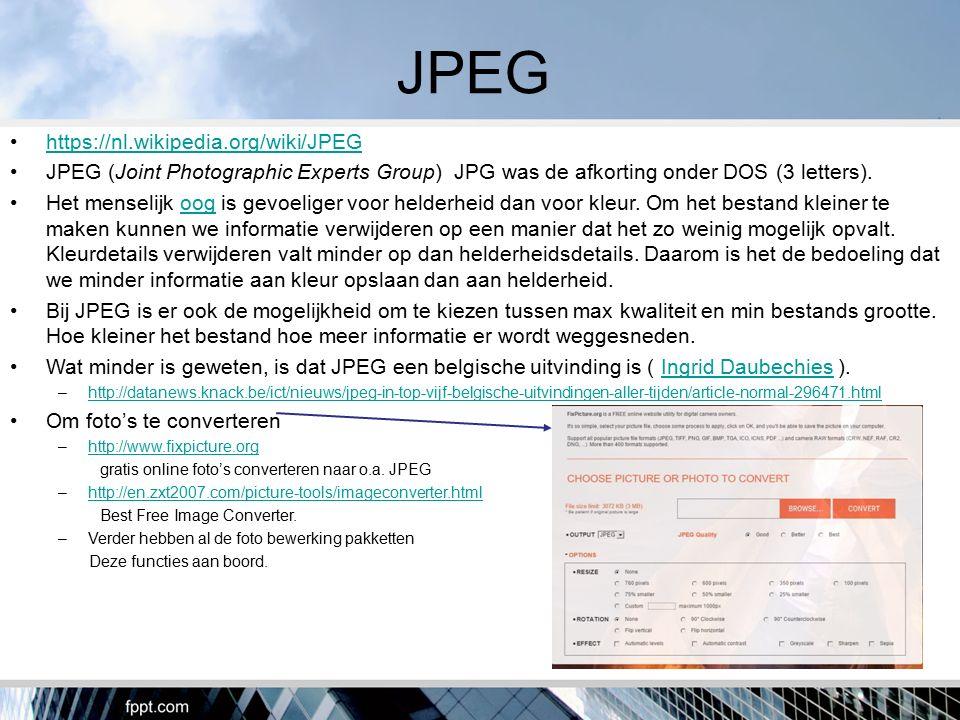 MPEG https://nl.wikipedia.org/wiki/MPEG MPEG is hetzelfde als JPEG maar met de M van movi.