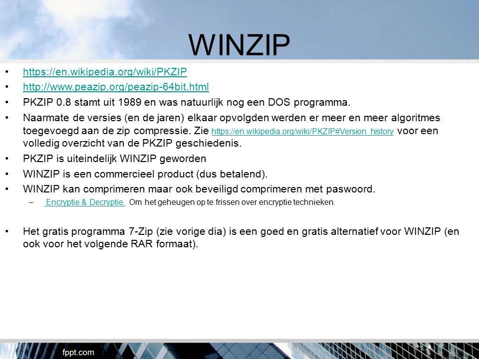 WINZIP https://en.wikipedia.org/wiki/PKZIP http://www.peazip.org/peazip-64bit.html PKZIP 0.8 stamt uit 1989 en was natuurlijk nog een DOS programma. N