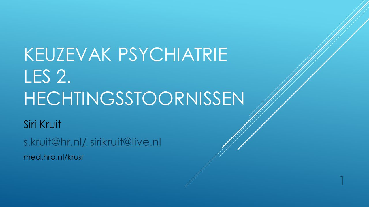 1 KEUZEVAK PSYCHIATRIE LES 2.