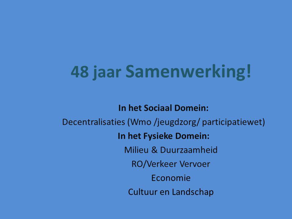 In het Sociaal Domein: Decentralisaties (Wmo /jeugdzorg/ participatiewet) In het Fysieke Domein: Milieu & Duurzaamheid RO/Verkeer Vervoer Economie Cul