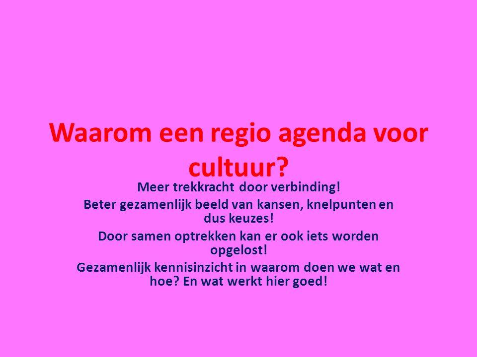 Waarom een regio agenda voor cultuur? Meer trekkracht door verbinding! Beter gezamenlijk beeld van kansen, knelpunten en dus keuzes! Door samen optrek