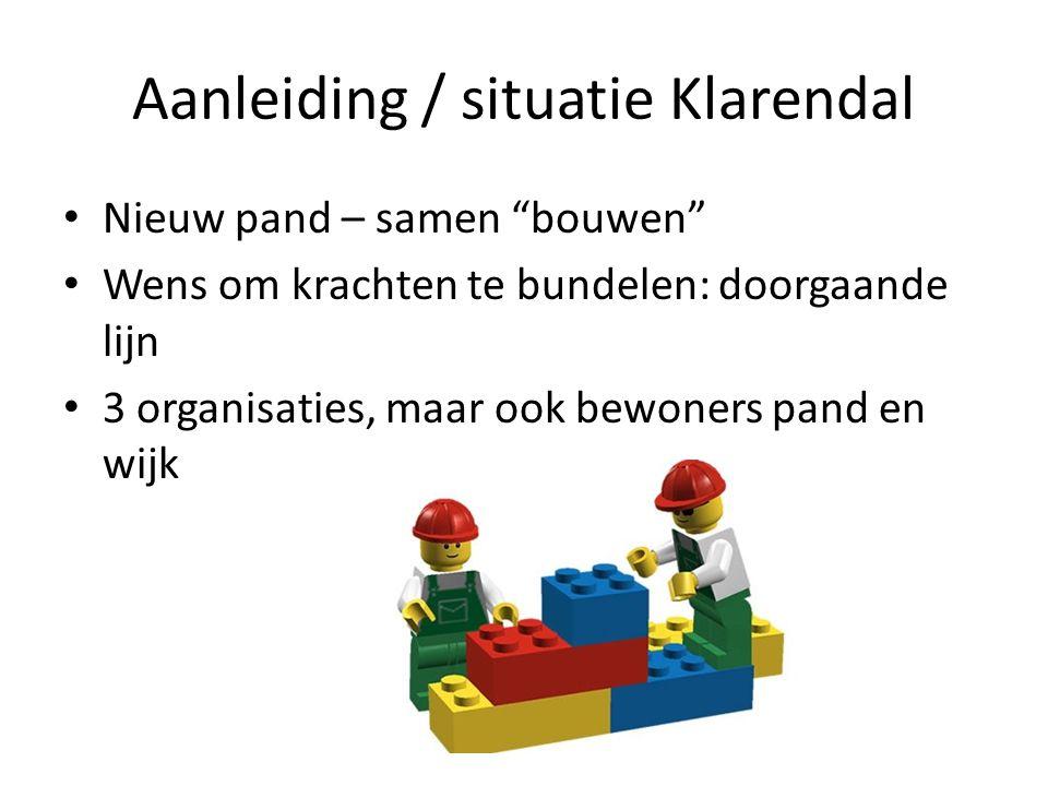 """Nieuw pand – samen """"bouwen"""" Wens om krachten te bundelen: doorgaande lijn 3 organisaties, maar ook bewoners pand en wijk"""