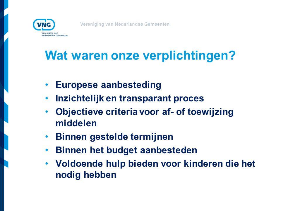 Vereniging van Nederlandse Gemeenten Wat waren onze verplichtingen? Europese aanbesteding Inzichtelijk en transparant proces Objectieve criteria voor