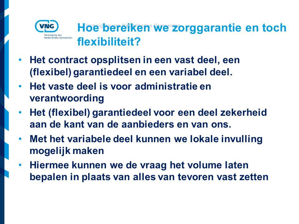 Vereniging van Nederlandse Gemeenten Hoe bereiken we zorggarantie en toch flexibiliteit? Het contract opsplitsen in een vast deel, een (flexibel) gara