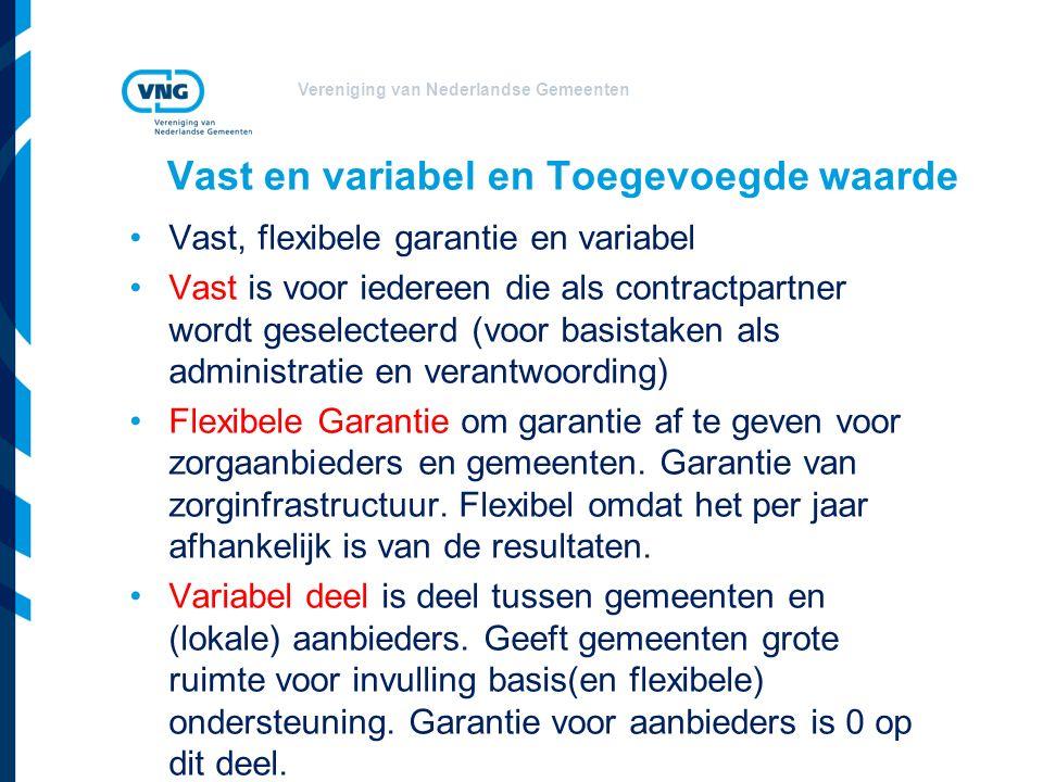 Vereniging van Nederlandse Gemeenten Vast en variabel en Toegevoegde waarde Vast, flexibele garantie en variabel Vast is voor iedereen die als contractpartner wordt geselecteerd (voor basistaken als administratie en verantwoording) Flexibele Garantie om garantie af te geven voor zorgaanbieders en gemeenten.