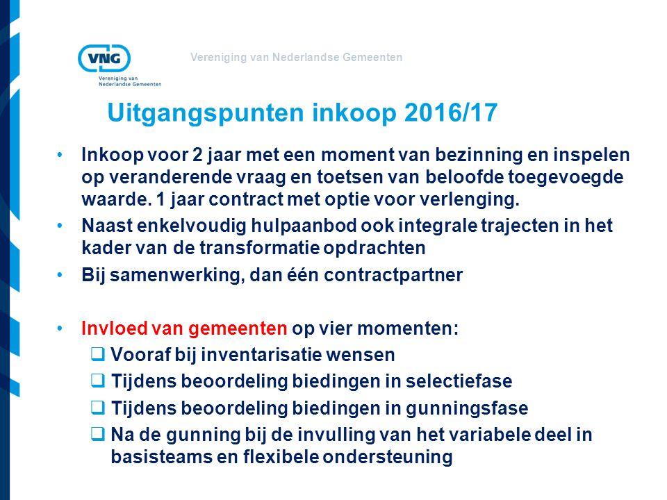 Vereniging van Nederlandse Gemeenten Uitgangspunten inkoop 2016/17 Inkoop voor 2 jaar met een moment van bezinning en inspelen op veranderende vraag en toetsen van beloofde toegevoegde waarde.