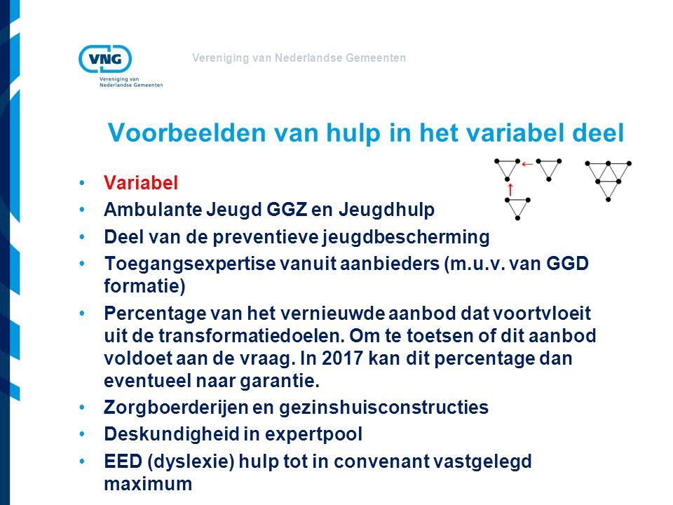 Vereniging van Nederlandse Gemeenten Voorbeelden van hulp in het variabel deel Variabel Ambulante Jeugd GGZ en Jeugdhulp Deel van de preventieve jeugdbescherming Toegangsexpertise vanuit aanbieders (m.u.v.