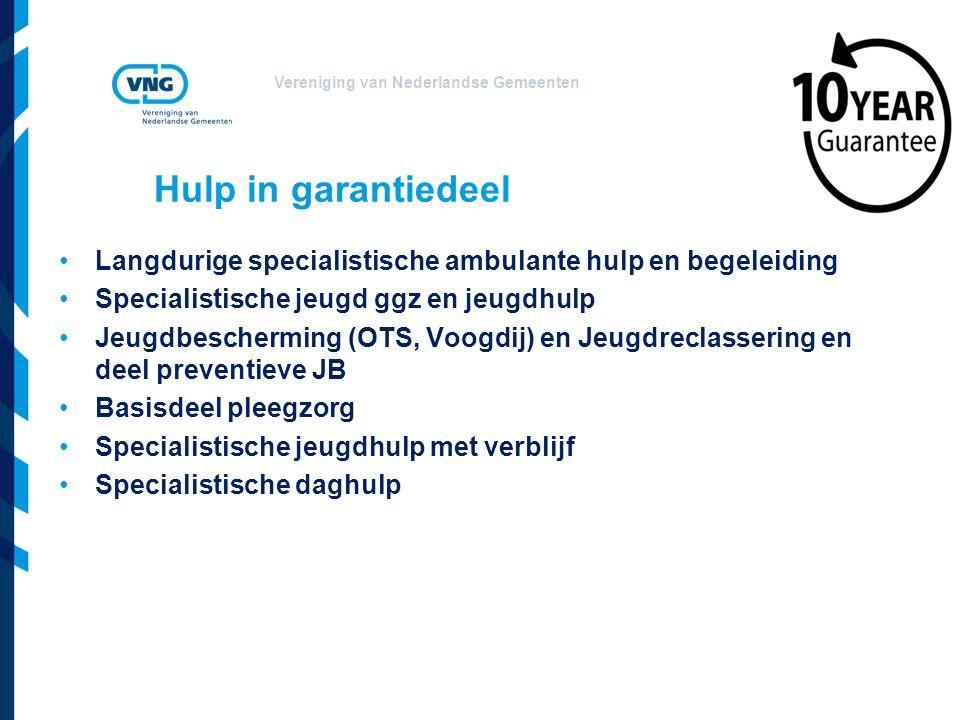 Vereniging van Nederlandse Gemeenten Hulp in garantiedeel Langdurige specialistische ambulante hulp en begeleiding Specialistische jeugd ggz en jeugdh