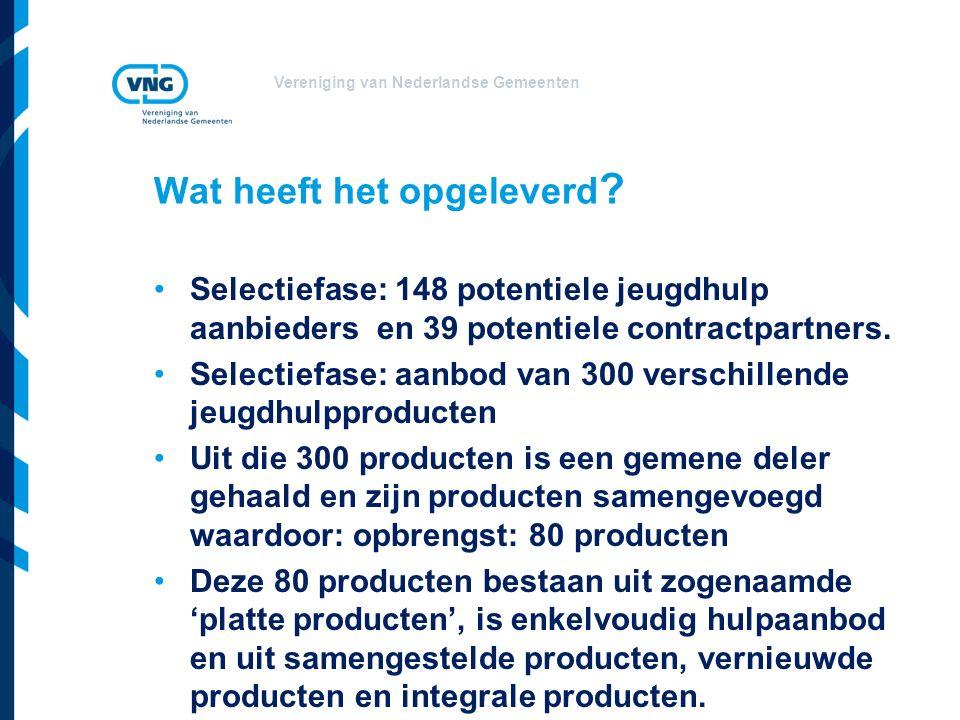 Vereniging van Nederlandse Gemeenten Wat heeft het opgeleverd ? Selectiefase: 148 potentiele jeugdhulp aanbieders en 39 potentiele contractpartners. S