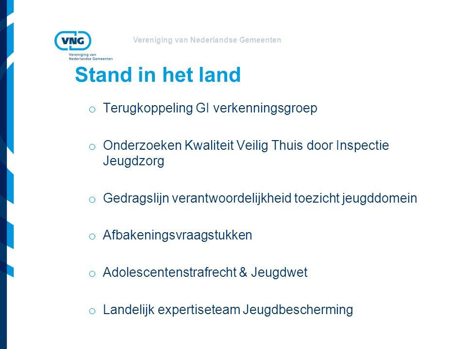 Vereniging van Nederlandse Gemeenten Stand in het land o Terugkoppeling GI verkenningsgroep o Onderzoeken Kwaliteit Veilig Thuis door Inspectie Jeugdz