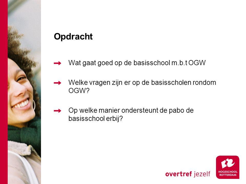 Opdracht Wat gaat goed op de basisschool m.b.t OGW Welke vragen zijn er op de basisscholen rondom OGW.