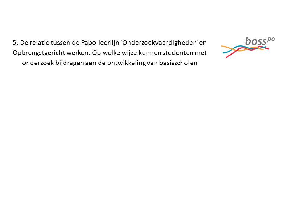 5. De relatie tussen de Pabo-leerlijn 'Onderzoekvaardigheden' en Opbrengstgericht werken.