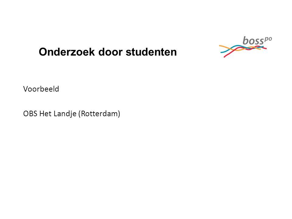 Onderzoek door studenten Voorbeeld OBS Het Landje (Rotterdam)