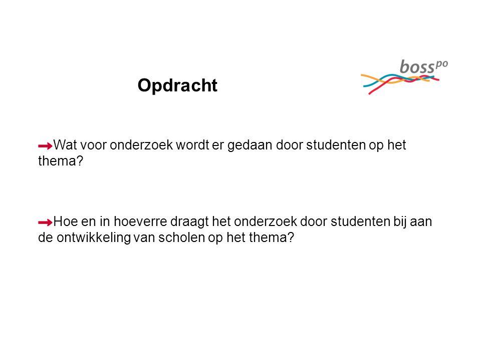 Opdracht Wat voor onderzoek wordt er gedaan door studenten op het thema.