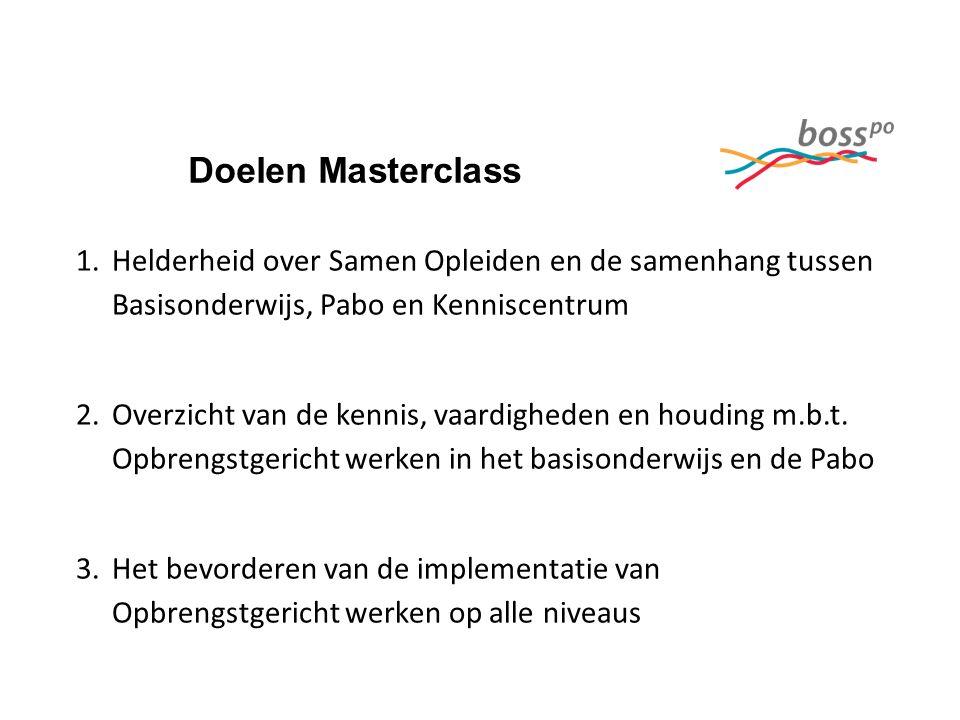 Doelen Masterclass 1.Helderheid over Samen Opleiden en de samenhang tussen Basisonderwijs, Pabo en Kenniscentrum 2.Overzicht van de kennis, vaardigheden en houding m.b.t.