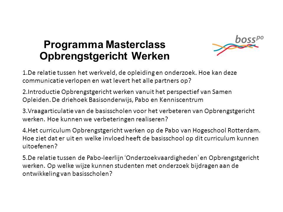 Programma Masterclass Opbrengstgericht Werken 1.De relatie tussen het werkveld, de opleiding en onderzoek.