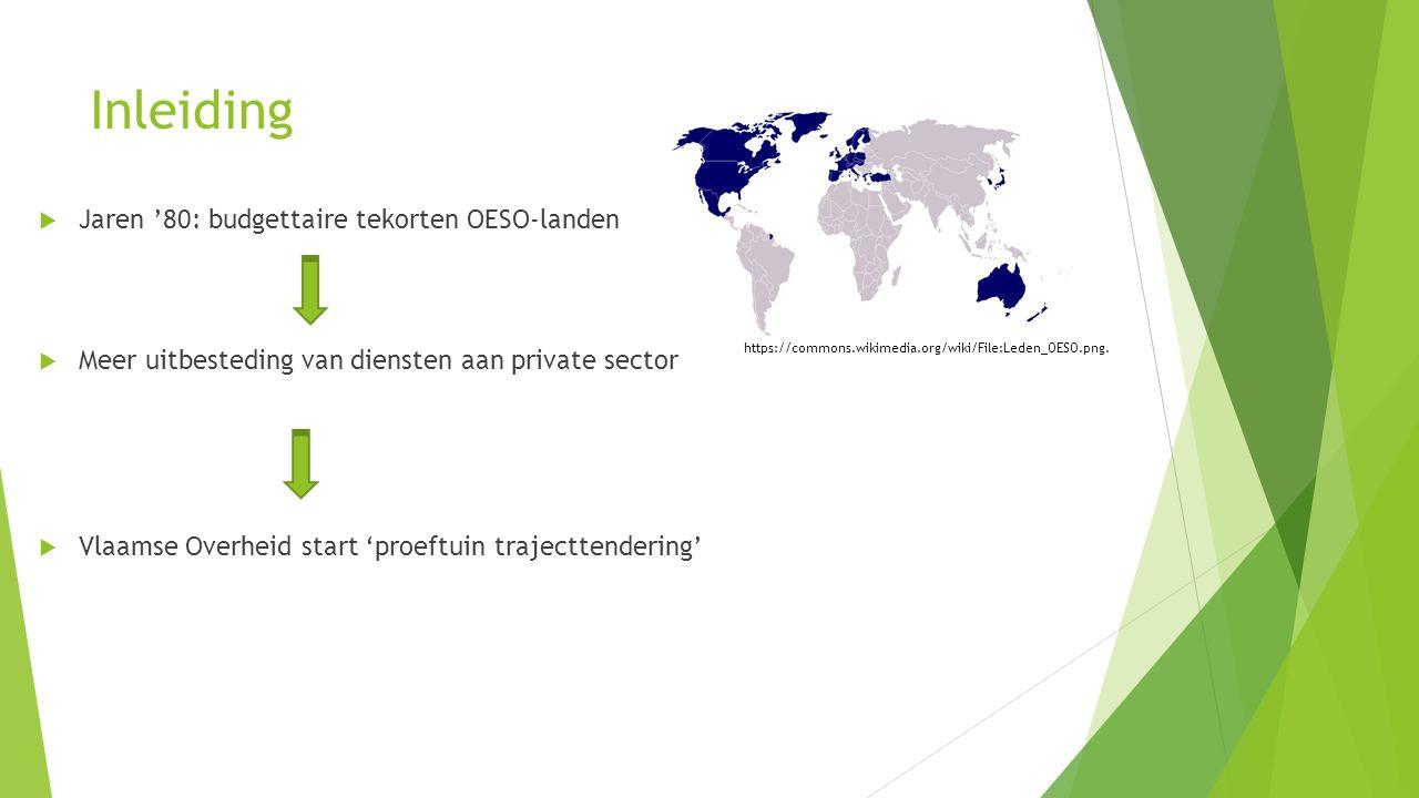 Inleiding  Jaren '80: budgettaire tekorten OESO-landen  Meer uitbesteding van diensten aan private sector  Vlaamse Overheid start 'proeftuin trajecttendering' https://commons.wikimedia.org/wiki/File:Leden_OESO.png.