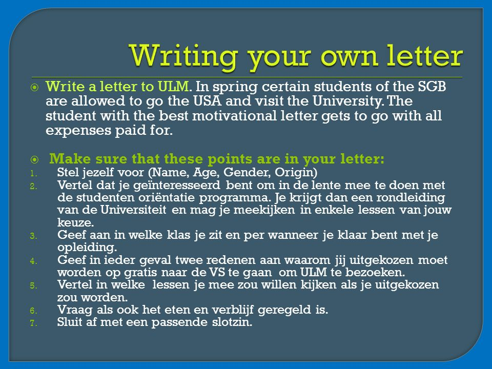  Write a letter to ULM.