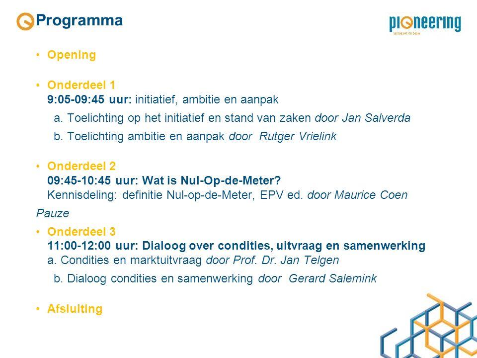 Programma Opening Onderdeel 1 9:05-09:45 uur: initiatief, ambitie en aanpak a.