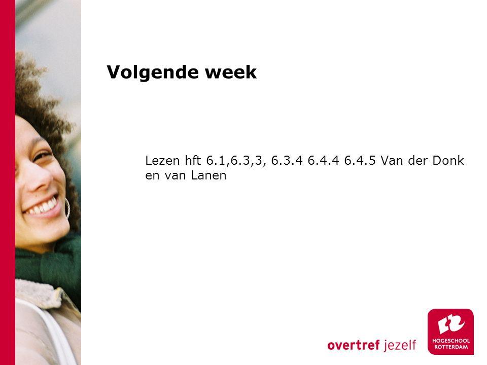 Volgende week Lezen hft 6.1,6.3,3, 6.3.4 6.4.4 6.4.5 Van der Donk en van Lanen
