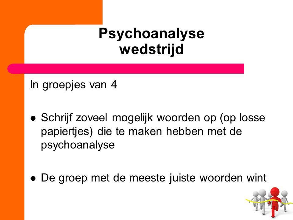 Psychoanalyse wedstrijd In groepjes van 4 Schrijf zoveel mogelijk woorden op (op losse papiertjes) die te maken hebben met de psychoanalyse De groep met de meeste juiste woorden wint