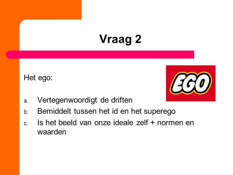 Vraag 2 Het ego: a.Vertegenwoordigt de driften b.