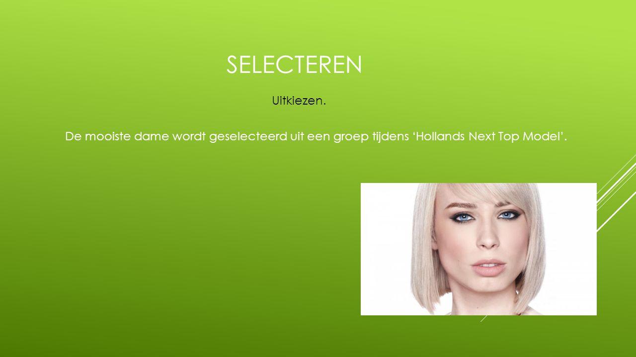 SELECTEREN De mooiste dame wordt geselecteerd uit een groep tijdens 'Hollands Next Top Model'. Uitkiezen.