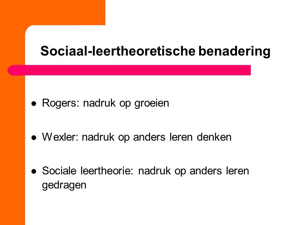 Sociaal-leertheoretische benadering Rogers: nadruk op groeien Wexler: nadruk op anders leren denken Sociale leertheorie: nadruk op anders leren gedragen