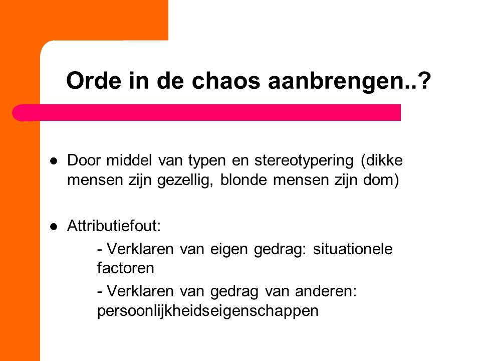 Orde in de chaos aanbrengen...