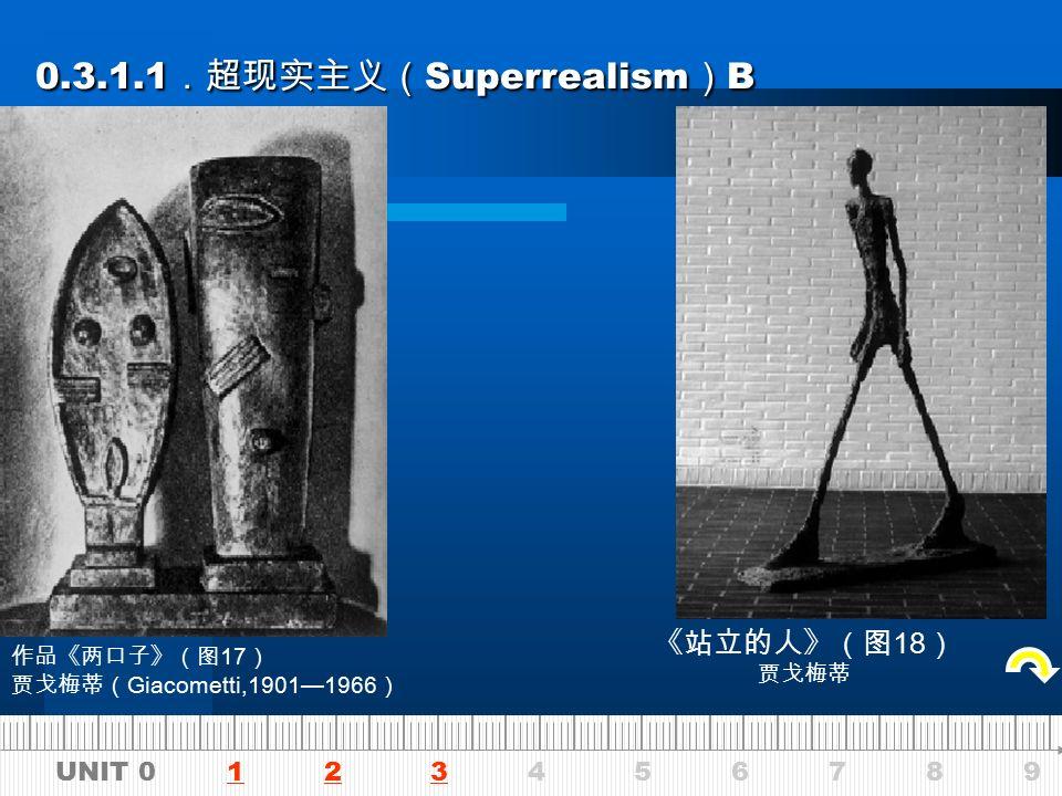 UNIT 0 1 2 3 4 5 6 7 8 9123 0.3.1.1 .超现实主义( Superrealism ) A 0.3.1.1 .超现实主义( Superrealism ) A 《公牛头》(图 14 ) 毕加索 《花园中的妇女》(图 15 ) 毕加索 《仙人掌人》(图 16 ) 冈查列兹( Gonzalezi,1876—1942 )