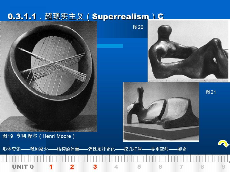 UNIT 0 1 2 3 4 5 6 7 8 9123 0.3.1.1 .超现实主义( Superrealism ) B 0.3.1.1 .超现实主义( Superrealism ) B 作品《两口子》(图 17 ) 贾戈梅蒂( Giacometti,1901—1966 ) 《站立的人》(图 18 ) 贾戈梅蒂