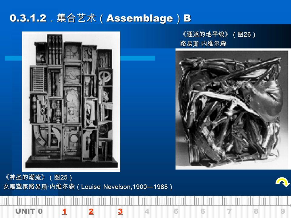 UNIT 0 1 2 3 4 5 6 7 8 9123 0.3.1.2 .集合艺术( Assemblage ) A 0.3.1.2 .集合艺术( Assemblage ) A 《立方》 戴维 · 史密斯( David Smith,1906—1965 ) 《洗劫卢克瑞斯》 鲁本 · 奈基尔( Reuben Naki ) 《情性机器》图 23 罗伯特 · 雅各布森 ( Robert Jacobsen )