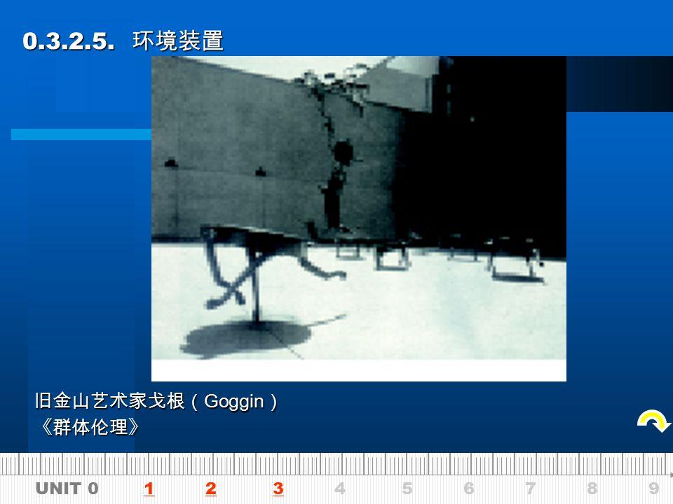 UNIT 0 1 2 3 4 5 6 7 8 9123 0.3.2.5. 环境装置 0.3.2.5. 环境装置 旧金山艺术家戈根( Goggin ) 《丢出窗外》