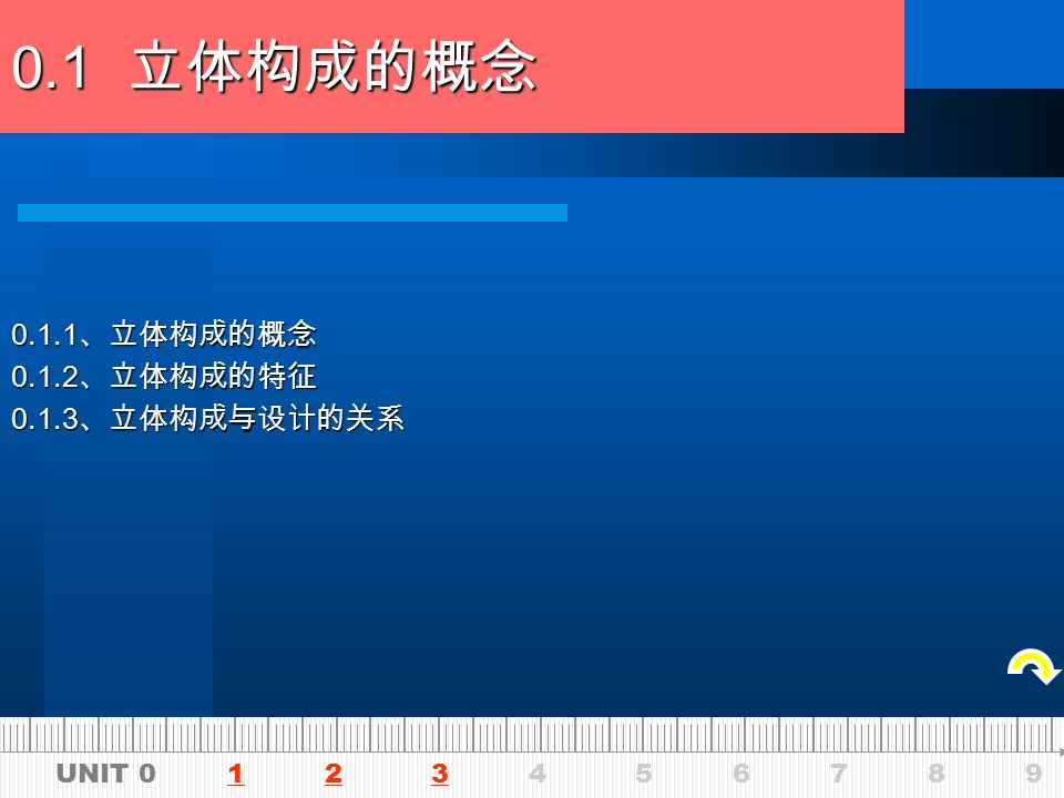 UNIT 0 1 2 3 4 5 6 7 8 9123 012345 立体形态概论 0. 立体形态概论 0.1 立体构成的概念 0.2 立体构成的起源 0.3 立体形态的发展