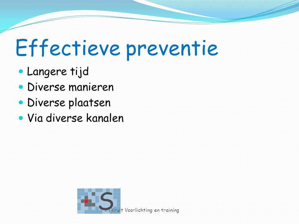 Effectieve preventie Langere tijd Diverse manieren Diverse plaatsen Via diverse kanalen iri Kruit Voorlichting en training