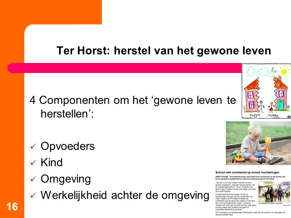 16 Ter Horst: herstel van het gewone leven 4 Componenten om het 'gewone leven te herstellen': Opvoeders Kind Omgeving Werkelijkheid achter de omgeving 16