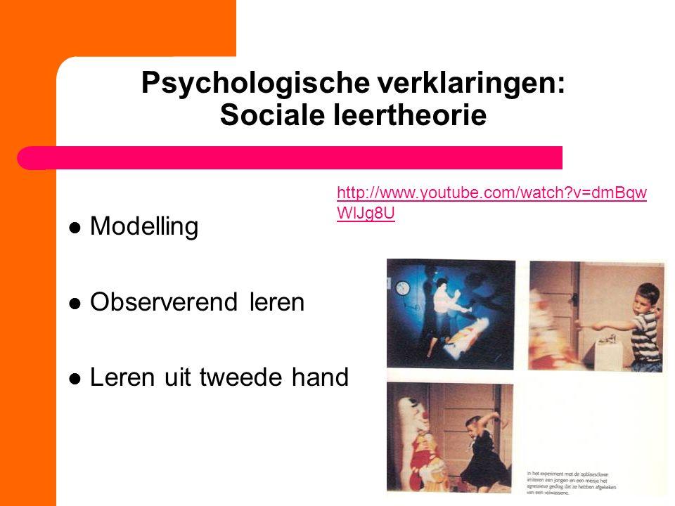 Psychologische verklaringen: Sociale leertheorie Modelling Observerend leren Leren uit tweede hand http://www.youtube.com/watch v=dmBqw WlJg8U
