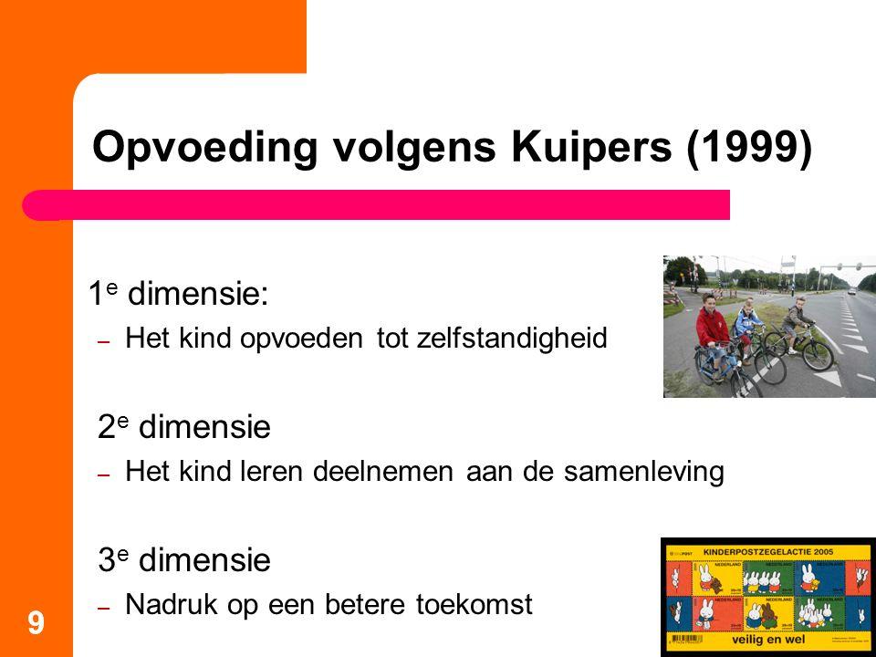 9 1 e dimensie: – Het kind opvoeden tot zelfstandigheid 2 e dimensie – Het kind leren deelnemen aan de samenleving 3 e dimensie – Nadruk op een betere toekomst Opvoeding volgens Kuipers (1999) 9