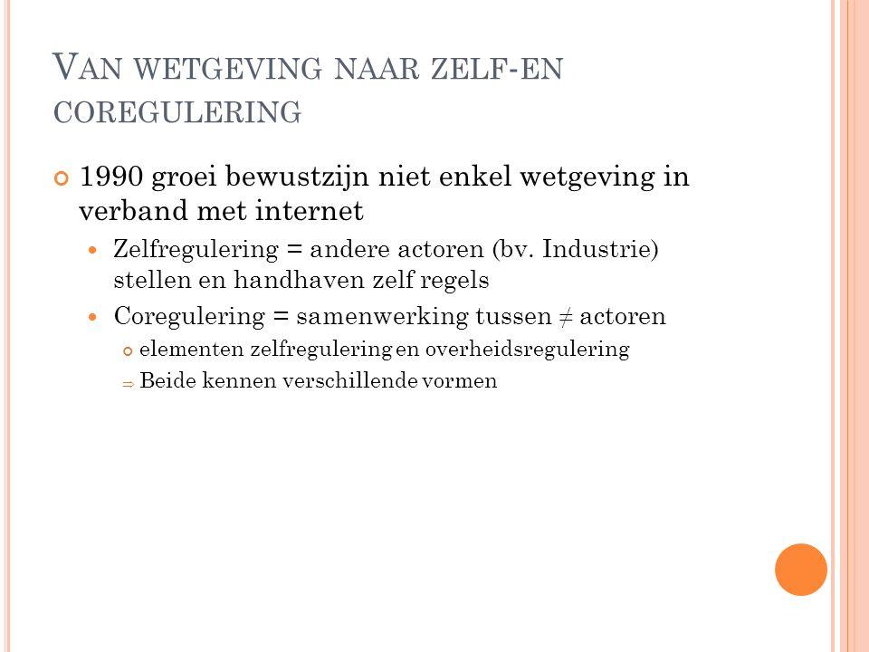 V AN WETGEVING NAAR ZELF - EN COREGULERING 1990 groei bewustzijn niet enkel wetgeving in verband met internet Zelfregulering = andere actoren (bv. Ind