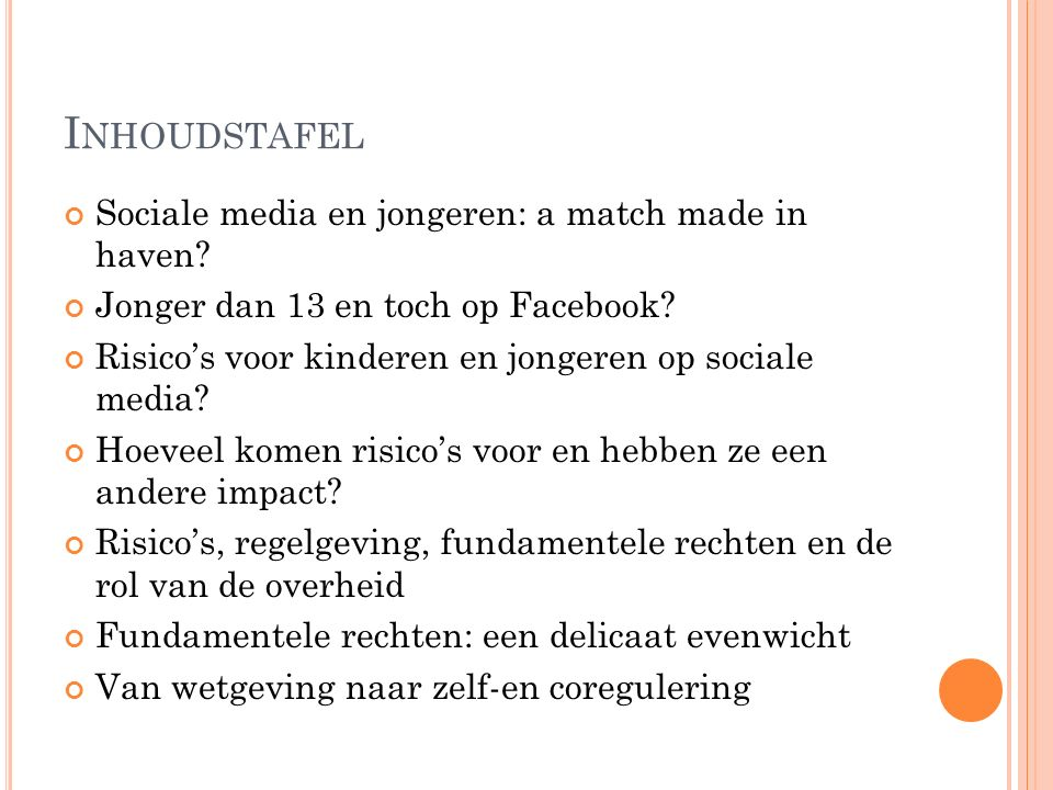 I NHOUDSTAFEL Sociale media en jongeren: a match made in haven.