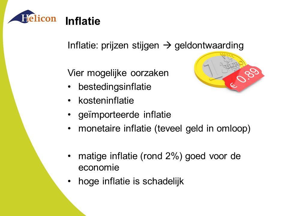 Inflatie Inflatie: prijzen stijgen  geldontwaarding Vier mogelijke oorzaken bestedingsinflatie kosteninflatie geïmporteerde inflatie monetaire inflatie (teveel geld in omloop) matige inflatie (rond 2%) goed voor de economie hoge inflatie is schadelijk