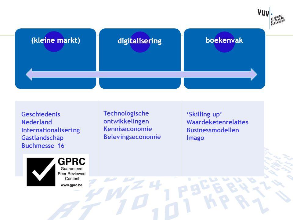 Geschiedenis Nederland Internationalisering Gastlandschap Buchmesse 16 Technologische ontwikkelingen Kenniseconomie Belevingseconomie 'Skilling up' Waardeketenrelaties Businessmodellen Imago (kleine markt) digitalisering boekenvak