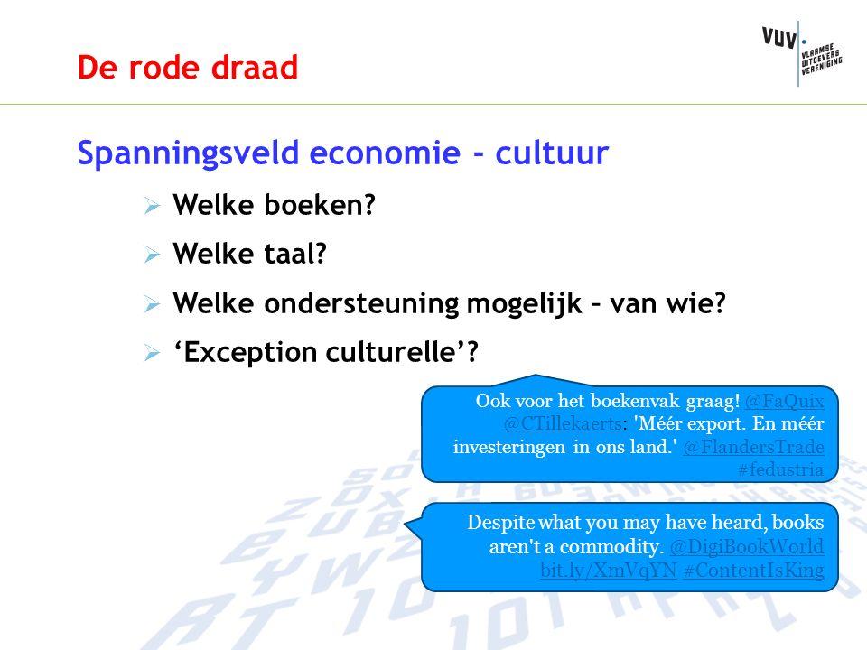 De rode draad Spanningsveld economie - cultuur  Welke boeken.